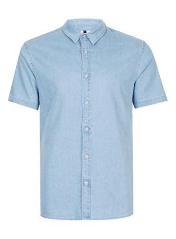 Topman Mens Blue Bleach Wash Muscle Fit Short Sleeve Denim Shirt