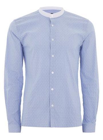 Topman Mens Blue Stripe Slim Smart Shirt