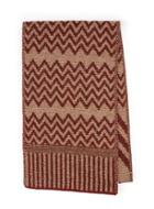 Topman Mens Multi Premium Red And Brown Zig Zag Scarf