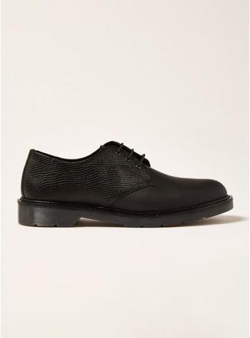 Topman Mens Black Leather Slater Derby Shoes