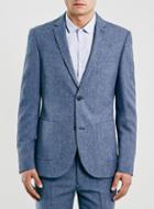 Topman Mens Light Blue Textured Skinny Fit Suit Jacket