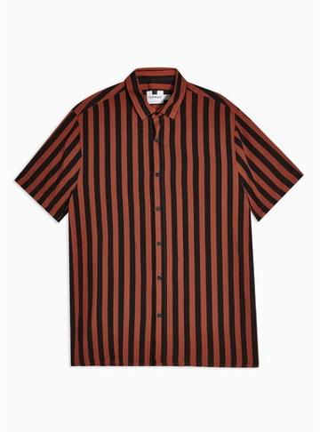Topman Mens Multi Rust And Black Stripe Slim Shirt