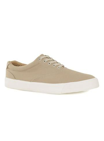 Topman Mens Yellow Sand Twill Sneakers