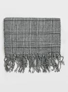 Topman Mens Black And White Check Scarf