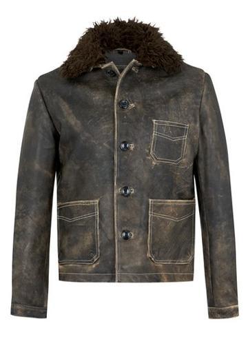 Topman Mens Black Topman Design Dusty Gray Leather Coat