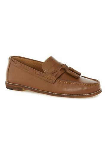 Topman Mens Brown Tan Leather Weaved Loafers