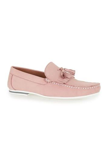 Topman Mens Pink Leather Fringed Loafers