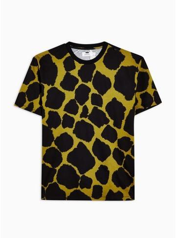 Topman Mens Khaki Animal Print Crew Neck T-shirt