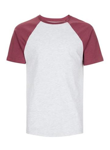 Topman Mens Red Burgundy Raglan Sleeve T-shirt