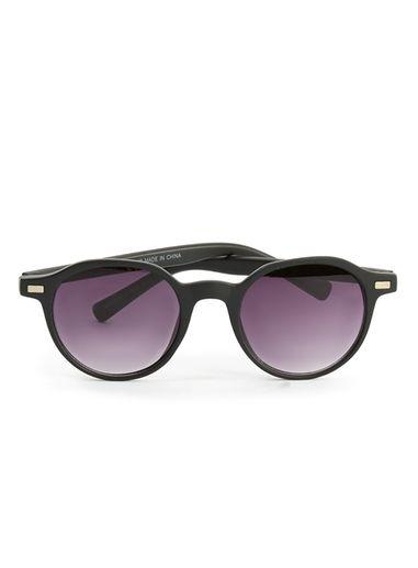 Topman Mens Matte Black Round Sunglasses