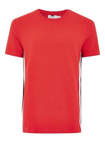 Topman Mens Red Taping T-shirt