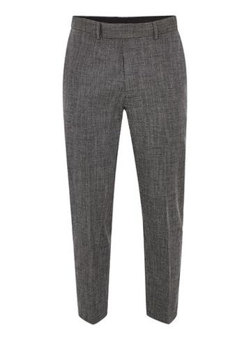 Topman Mens Blue Navy And White Textured Relaxed Fit Suit Pants
