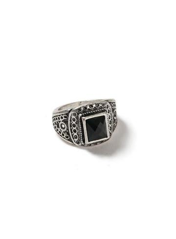 Topman Mens Silver Look And Black Engraved Square Ring*