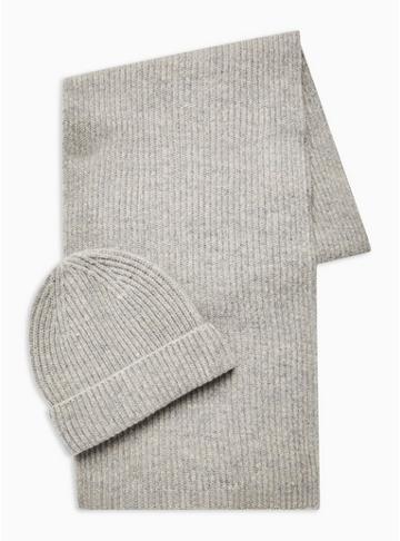 Topman Mens Grey Wool Beanie And Scarf 2 Pack