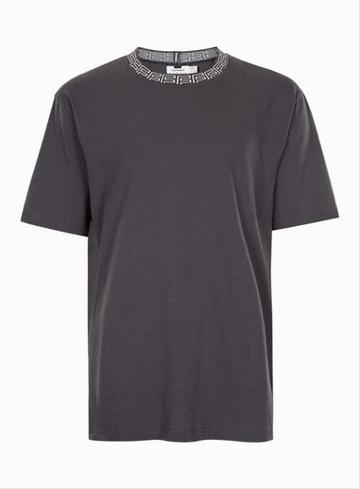 Topman Mens Grey Gray Jacquard Neck Oversized T-shirt