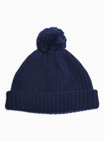 Topman Mens Navy Ribbed Bobble Beanie