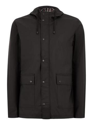 Topman Mens Black Showerproof Rubberised Jacket