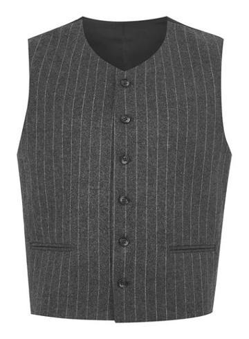 Topman Mens Grey Topman Design Pinstripe Vest