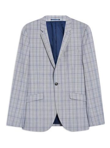 Topman Mens Blue Check Super Skinny Blazer