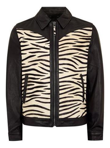 Topman Mens Black Leather Zebra Print Jacket