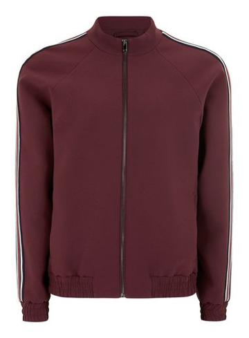 Topman Mens Red Burgundy Side Stripe Zip Up Jacket