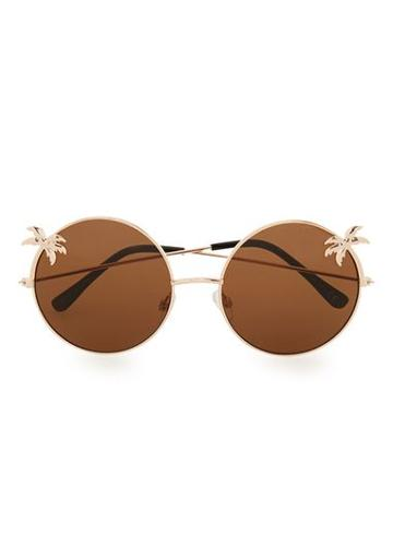 Topman Mens Round Brown Palm Tree Sunglasses