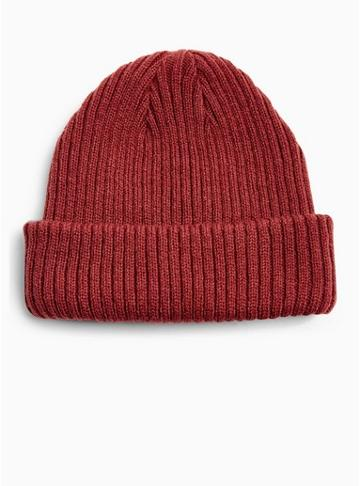 Topman Mens Red Burgundy Ribbed Beanie
