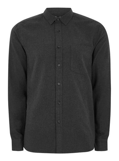 Topman Mens Grey Flannel Herringbone Shirt