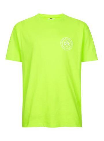 Topman Mens Green Bright Lime Printed Oversized T-shirt