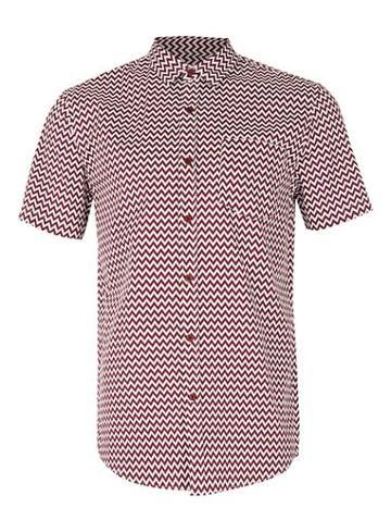 Topman Mens Red Burgundy And White Zig Zag Short Sleeve Casual Shirt