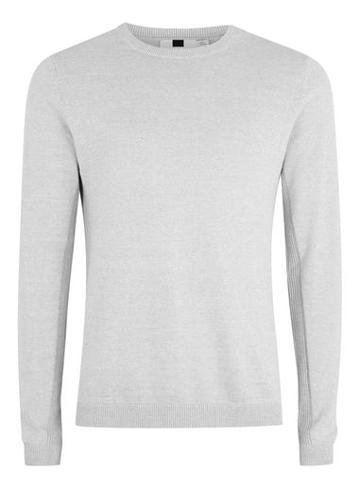 Topman Mens Grey Side Ribbed Slim Fit Jumper