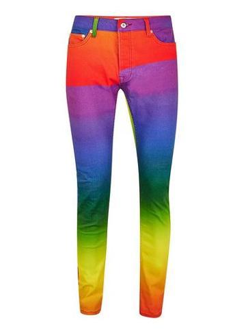 Topman Mens Multi Rainbow Stretch Skinny Jeans