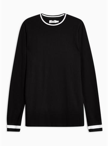 Topman Mens Black Long Sleeve Ringer T-shirt