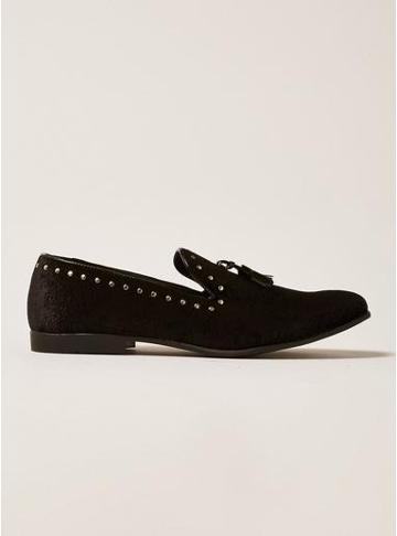 Topman Mens Black Paisley Print Stud Prince Loafers