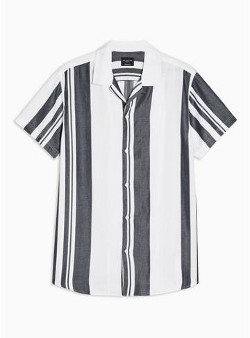 Selected Homme Mens White Selected Homme 'kevin' Stripe Revere Shirt