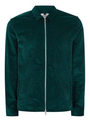Topman Mens Green Corduroy Overshirt