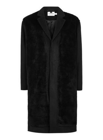 Topman Mens Black Faux Fur Front Overcoat