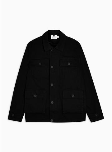 Topman Mens Black Safari Four Pocket Jacket