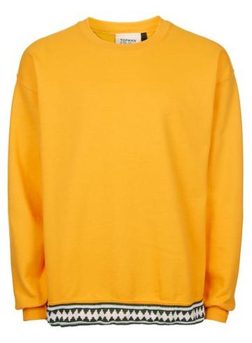 Topman Mens Topman Finds Yellow Vintage Sweatshirt