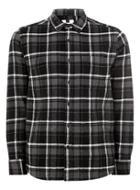 Topman Mens Grey Black Embroidered Check Shirt