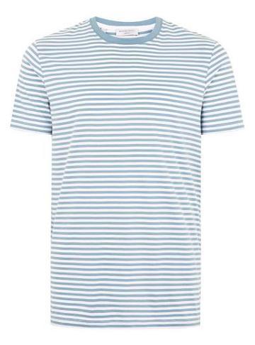 Topman Mens Selected Homme Light Blue Stripe T-shirt