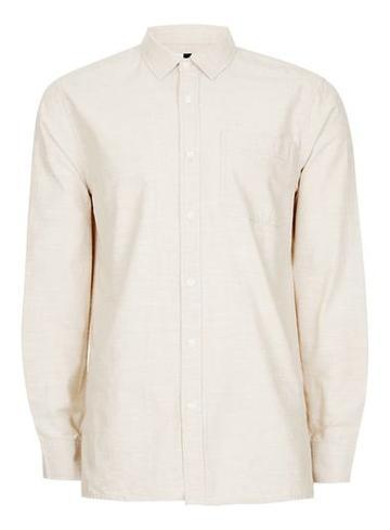 Topman Mens Brown Stone Slub Cotton Short Sleeve Casual Shirt