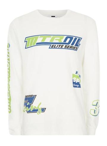Topman Mens White Motocross Print Oversized Long Sleeve T-shirt