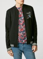 Topman Mens Black Orient Bomber Jacket