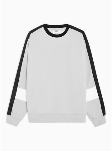 Topman Mens Green Black, Grey And White Panelled Sweatshirt