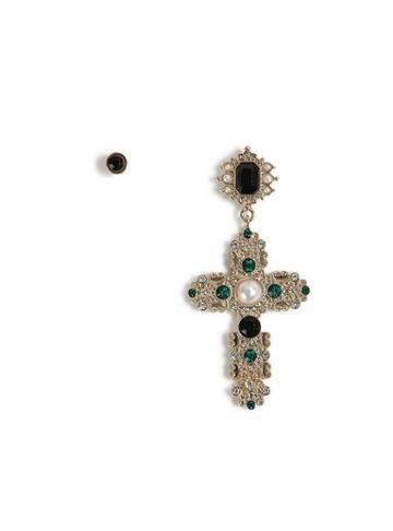 Topman Mens Black Gold Cross Earrings