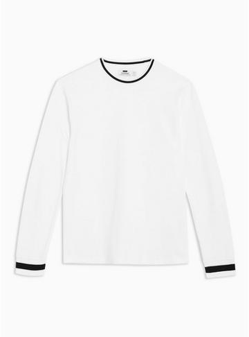 Topman Mens White Long Sleeve Ringer T-shirt