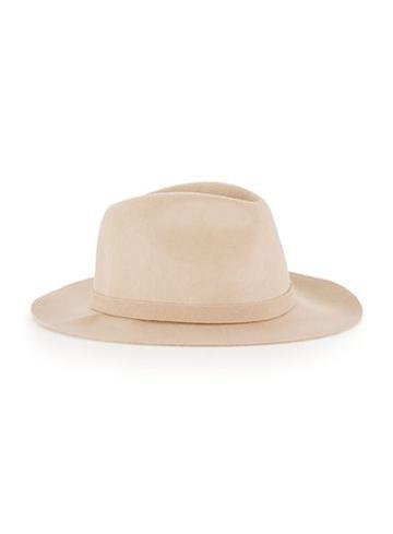 Topman Mens Brown Camel Soft Trim Wool Puritan Hat