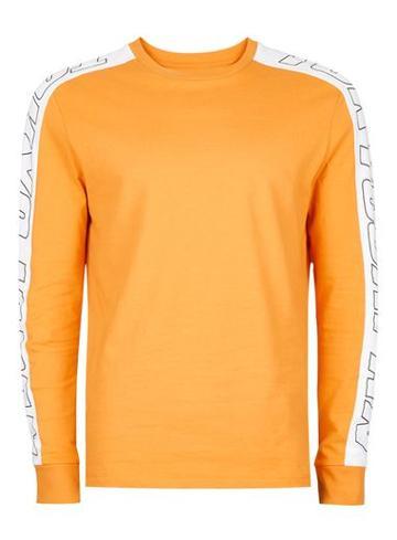 Topman Mens Orange Print Sleeve Panel T-shirt