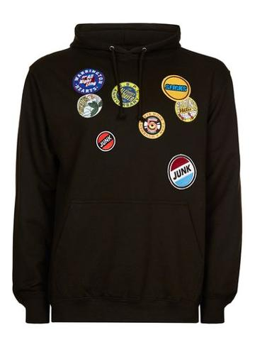 Topman Mens Topman Design Black Badge Hoodie